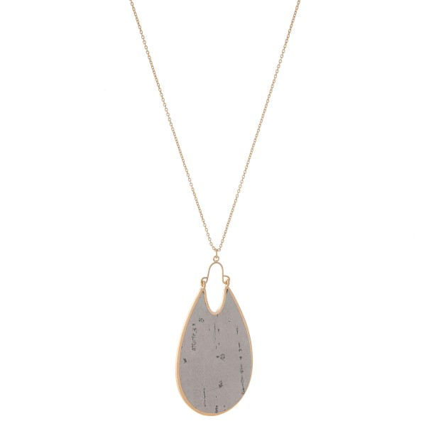 "Long Necklace Featuring Metal Encased Cork Teardrop Pendant.  - Pendant 3"" L - Approximately 36"" L  - Adjustable 3"" Extender"
