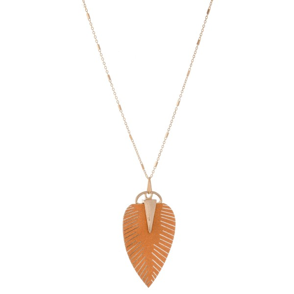 "Long Necklace Featuring Faux Leather Leaf Pendant with Gold Accent.  - Pendant 3.5"" L - Approximately 36"" L  - Adjustable 3"" Extender"