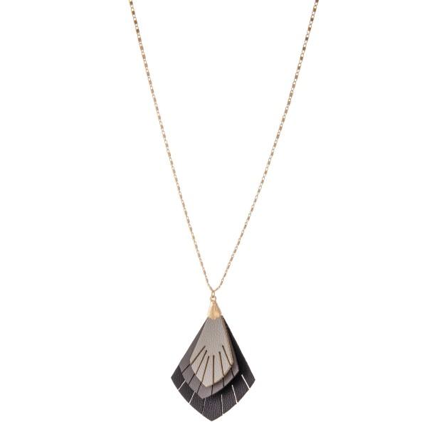 "Long Necklace Featuring 3-Tone Leaf Tassel Pendant.  - Pendant 2.75"" - Approximately 36"" L  - Adjustable 3"" Extender"