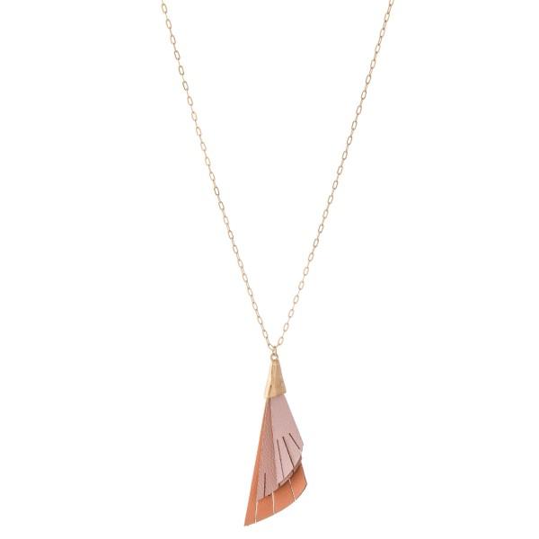 "Long Necklace Featuring 3-Tone Half Leaf Tassel Pendant.  - Pendant 3"" L  - Approximately 36"" L  - Adjustable 3"" Extender"