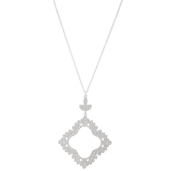 """Long Necklace Featuring Filigree Textured Pendant.  - Pendant 2""""  - Approximately 36"""" L  - Adjustable 3"""" Extender"""