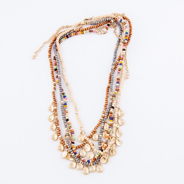 """Wood Beaded Boho Necklace Featuring Gold Accents.  - Approximately 16"""" L  - Adjustable 3.5"""" Extender"""