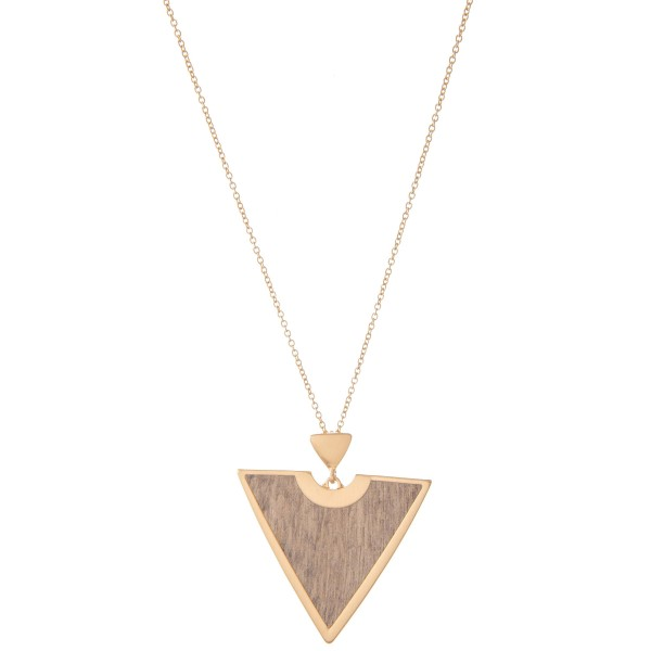 """Long Necklace Featuring Metal Encased Wooden Triangle Pendant.  - Pendant 2.5"""" - Approximately 34"""" L  - Adjustable 3"""" Extender"""