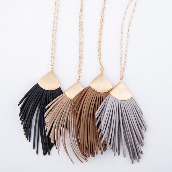 "Long Necklace Featuring Faux Leather Tassel Pendant.  - Pendant 4"" L  - Approximately 38"" L  - Adjustable 3"" Extender"