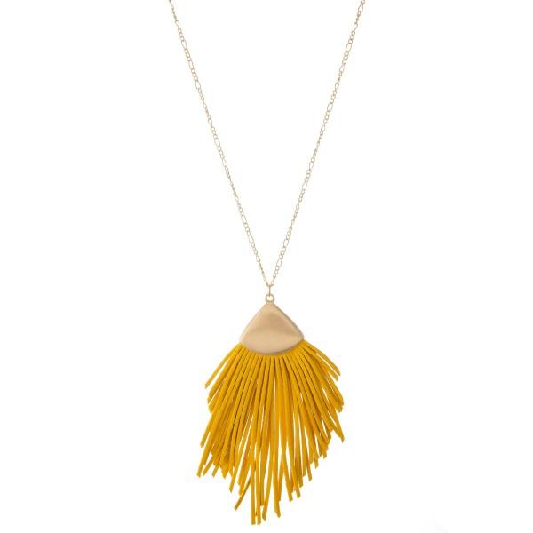 "Long Necklace Featuring Faux Leather Tassel Pendant.  - Pendant 4"" L  - Approximately 38"" L  - Adjustable 3"" Extender"
