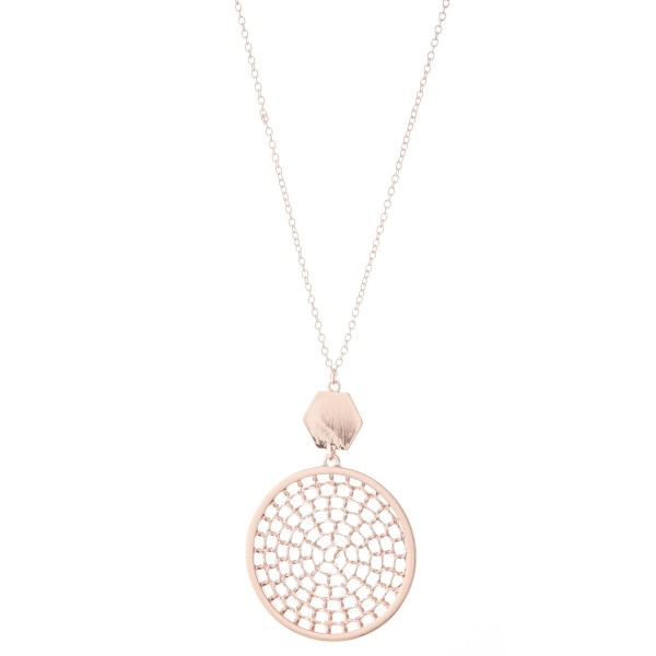 """Long Necklace Featuring Chain Link Filigree Circle Pendant.  - Pendant 2"""" in Diameter - Approximately 36"""" L  - Adjustable 3"""" Extender"""