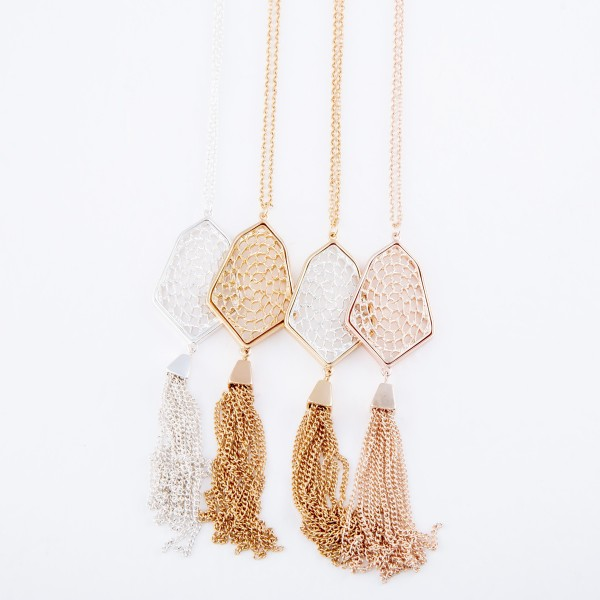 "Two Tone Long Necklace Featuring Chain Link Filigree Tassel Pendant.  - Pendant 4"" L  - Approximately 34"" L  - Adjustable 3"" Extender"