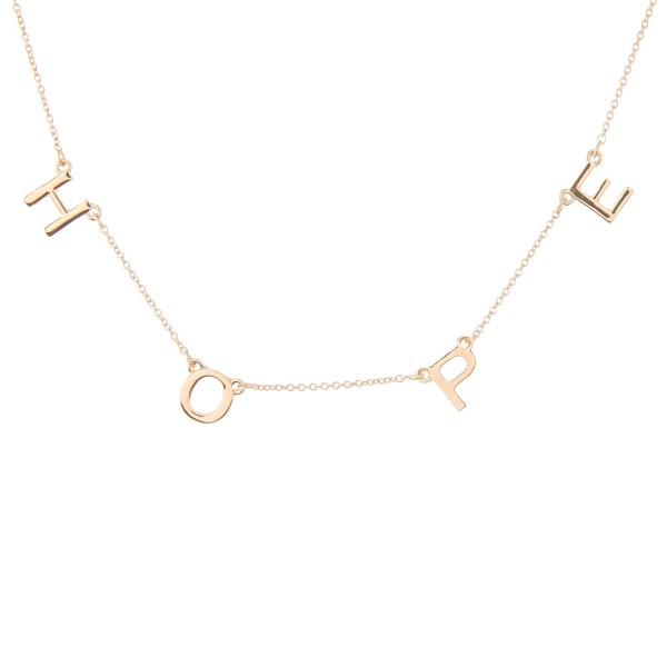 """Hope"" Floater Necklace in Gold.  - Approximately 16"" L  - Adjustable 3.5"" Extender"
