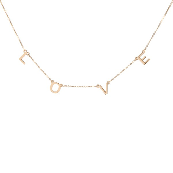 """Love"" Floater Necklace in Gold.  - Approximately 16"" L  - Adjustable 3.5"" Extender"