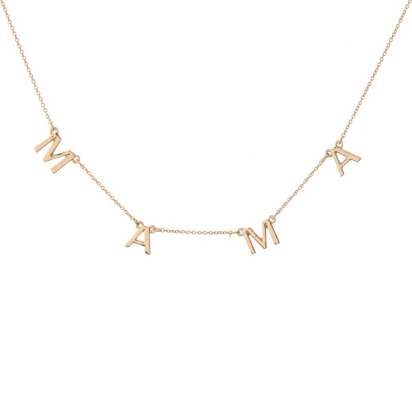 """""""Mama"""" Floater Necklace in Gold.  - Approximately 16"""" L  - Adjustable 3.5"""" Extender"""