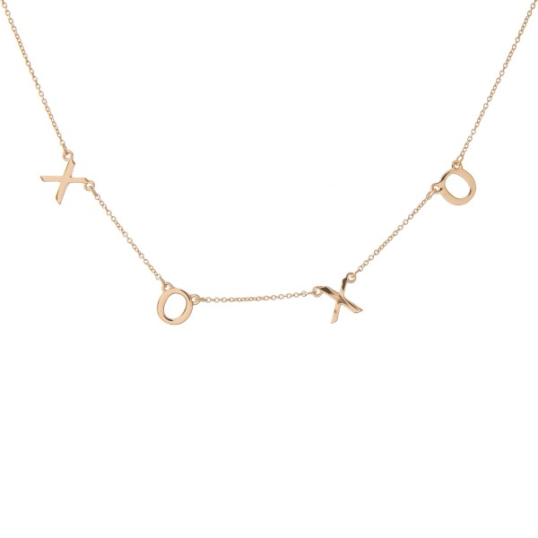 """Xoxo"" Floater Necklace in Gold.  - Approximately 16"" L  - Adjustable 3.5"" Extender"
