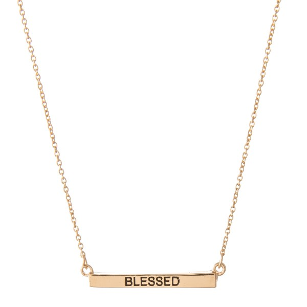 """Blessed"" Bar Necklace.  - Bar Pendant 1""  - Approximately 16"" L  - Adjustable 3.5"" Extender"