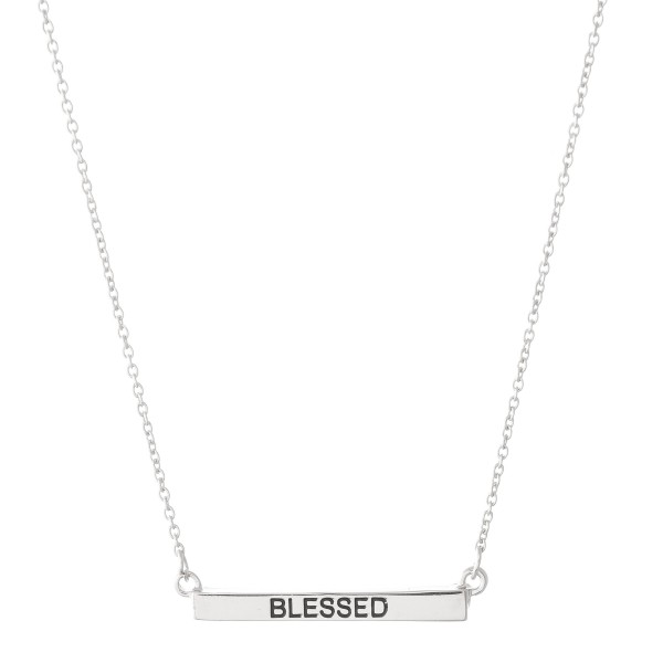 """Blessed"" Bar Necklace.  - Bar Pendant 1""  - Approximately 16"" L  - Adjustable 3.5"" Extender"