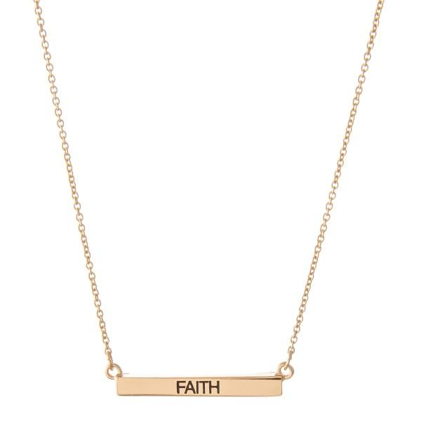 """Faith"" Bar Necklace.  - Bar Pendant 1""  - Approximately 16"" L  - Adjustable 3.5"" Extender"