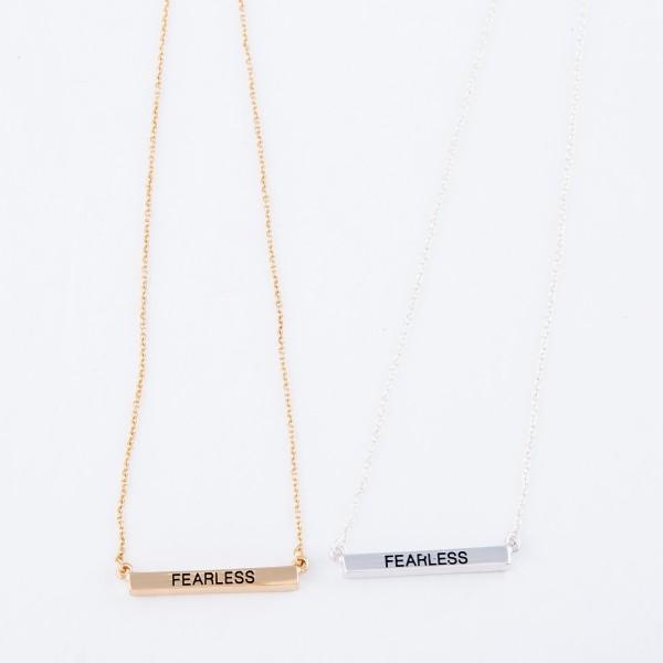 """Fearless"" Bar Necklace.  - Bar Pendant 1""  - Approximately 16"" L  - Adjustable 3.5"" Extender"