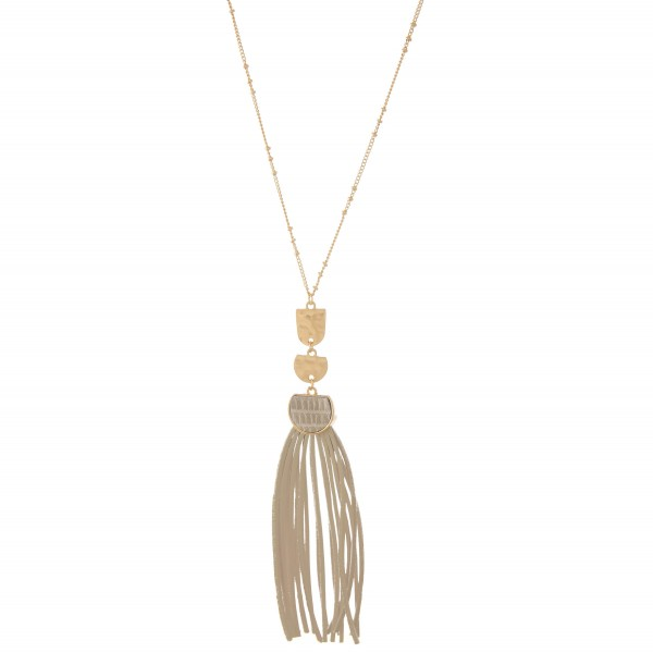 """Long Necklace Featuring Faux Leather Tiered Tassel Pendant.  - Pendant 5"""" L  - Approximately 40"""" L  - Adjustable 3"""" Extender"""