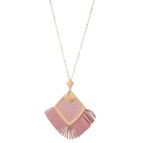 "Metal Encased Faux Leather Diamond Tassel Penant Necklace.  - Pendant 3"" x 3""  - Approximately 36"" L  - 3"" Adjustable Extender"