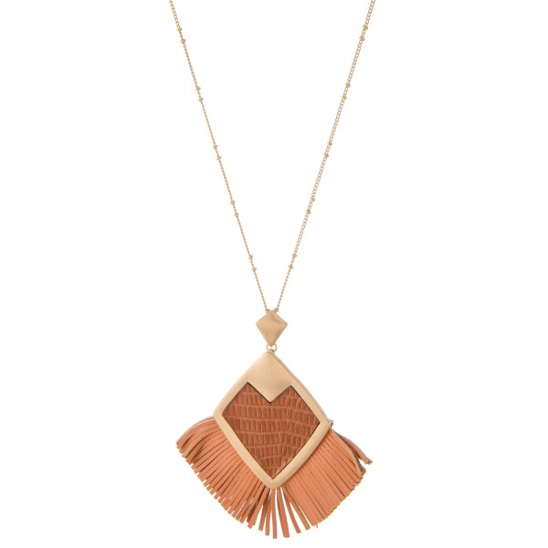 "Metal Encased Faux Leather Diamond Tassel Penant Necklace.  - Pendant 3"" x 3""  - Approximately 36"" L  - 3"" Adjustable Extender"