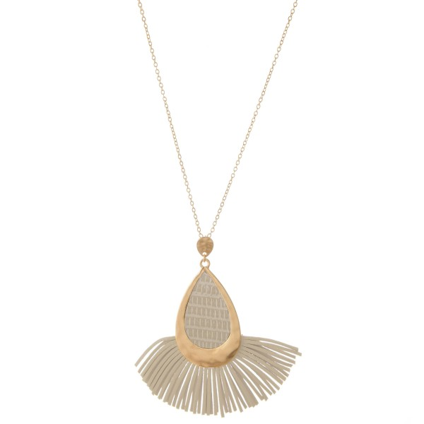 "Metal Encased Faux Leather Teardrop Tassel Pendant Necklace.  - Pendant 3""  - Approximately 36"" L  - 3"" Adjustable Extender"