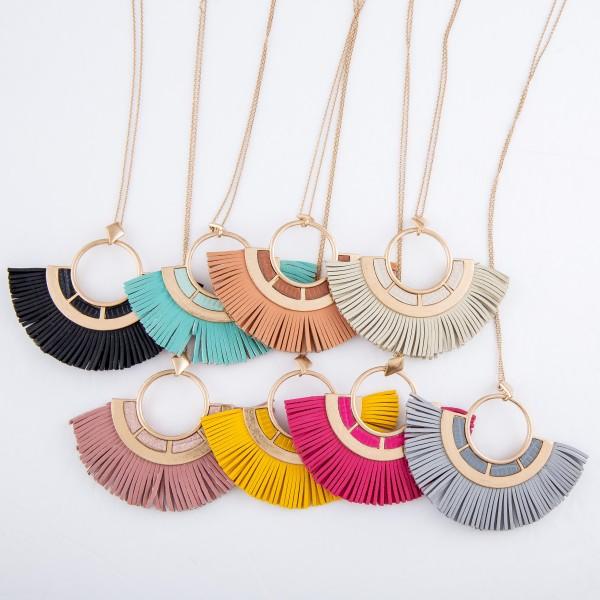 "Metal Encased Faux Leather Boho Tassel Pendant Necklace.  - Pendant 2.5"" x 3.5""  - Approximately 36"" L  - 3"" Adjustable Extender"