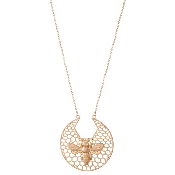 """Designer Inspired Necklace Featuring Honeycomb Filigree Pendant with BumbleBee Detail.  - Pendant approximately 2.25"""" in diameter - Approximately 34"""" L  - Adjustable 3"""" Extender"""