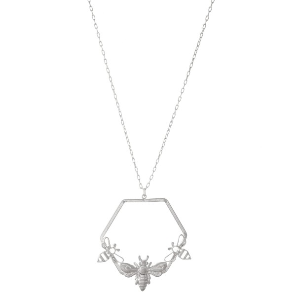"""Designer Inspired Necklace Featuring Honeycomb Pendant with Bee Accents.  - Pendant 2"""" in diameter - Approximately 34"""" L  - Adjustable 3"""" Extender"""