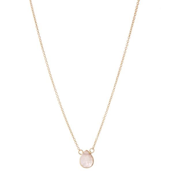 "Short Semi Precious Teardrop Necklace.  - Approximately 16"" L  - Adjustable 3.5"" Extender"