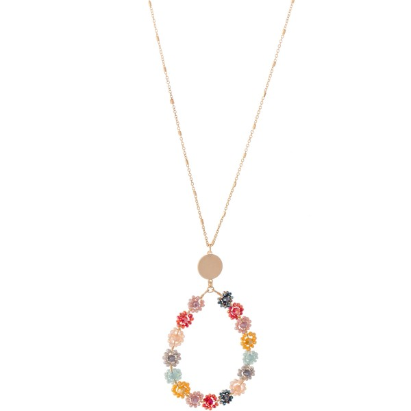 """Long Necklace Featuring Flower Beaded Teardrop Pendant with Gold Accent.  - Pendant 3""""  - Approximately 34"""" L  - 3"""" Adjustable Extender"""