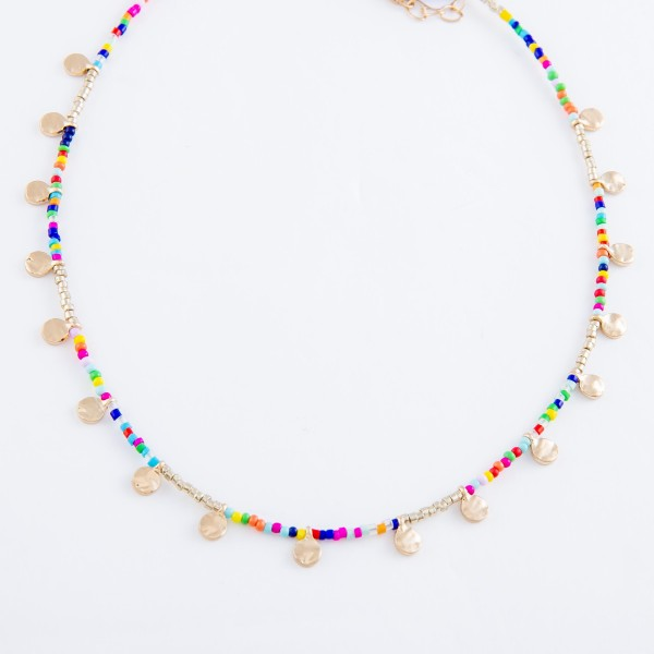 "Multicolor Seed Beaded Necklace Featuring Gold Disc Accents.  - Approximately 14"" L  - 2"" Adjustable Extender"