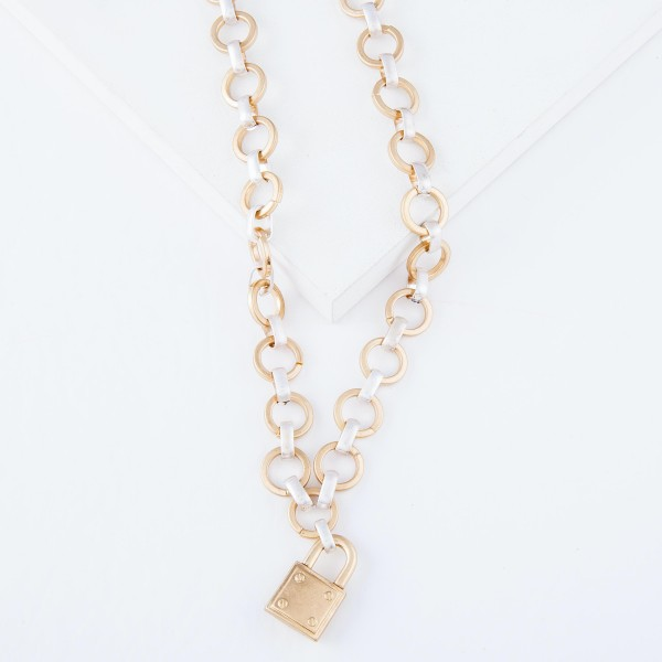 "Two Tone Circle Chain Link Lock Necklace.  - Lock Pendant 1"" - Approximately 20"" L"