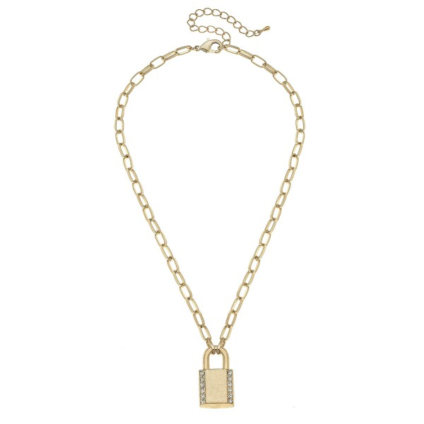 "Long Chain Link Necklace in Worn Gold Featuring a Lock Pendant with Rhinestone Details.  - Pendant 1"" - Approximately 20"" L  - 3"" Adjustable Extender"