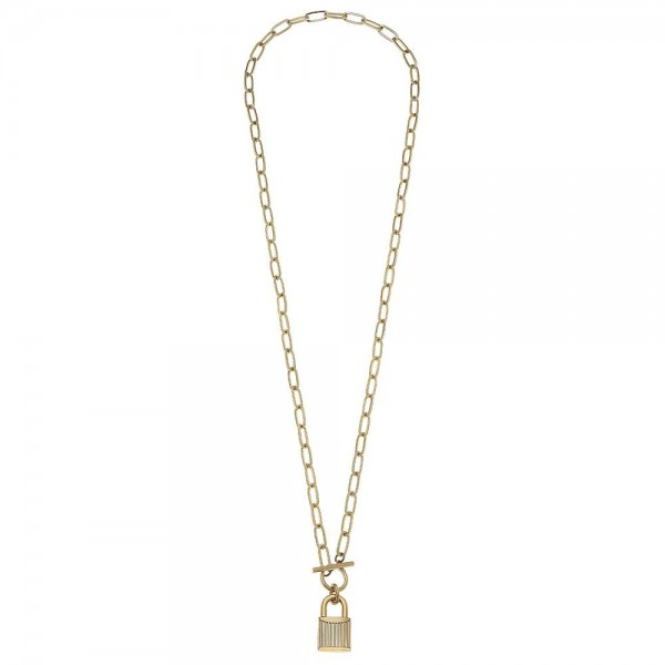 """Long Chain Link Toggle Bar Lock Pendant Necklace.  - Pendant 1""""  - Approximately 34"""" L"""