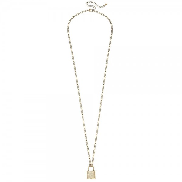 """Long Hera Chain Link Lock Pendant Necklace in Gold.  - Pendant .75"""" - Approximately 30"""" L  - 3"""" Adjustable Extender"""