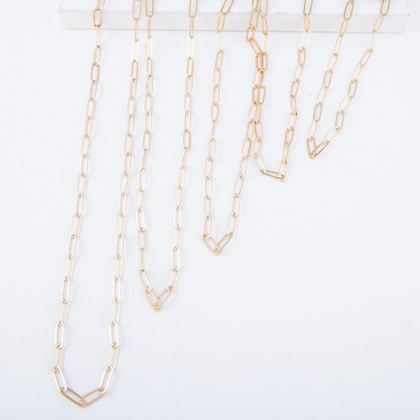 "Long Hera Chain Link Necklace in Gold.  - Approximately 36"" L - 3"" Adjustable Extender"