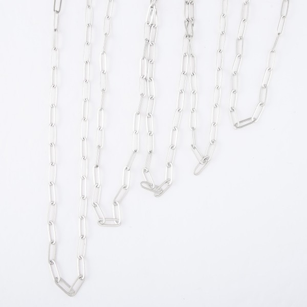 "Short Hera Chain Link Necklace in Silver.  - Approximately 16"" L - 3"" Adjustable Extender"