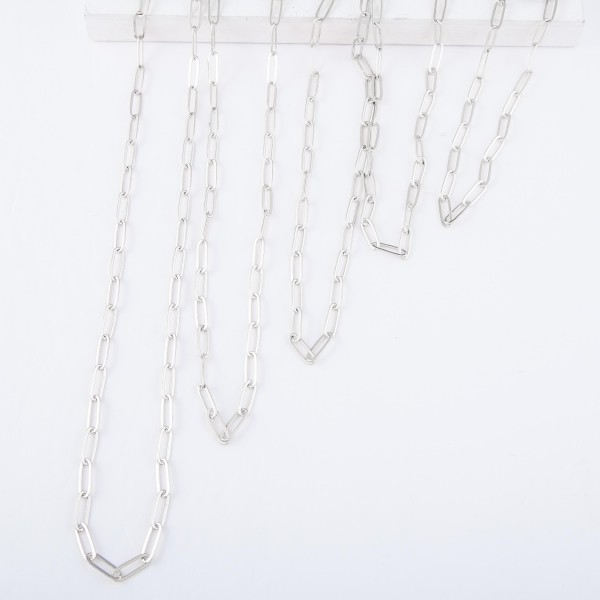 "Hera Chain Link Necklace in Silver.  - Approximately 18"" L - 3"" Adjustable Extender"