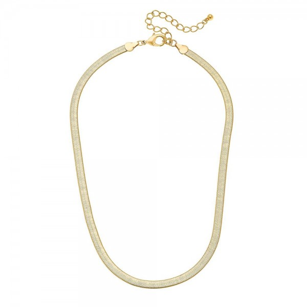 "5mm Herringbone Chain Necklace in Gold.  - Approximately 16"" L  - 3"" Adjustable Extender"
