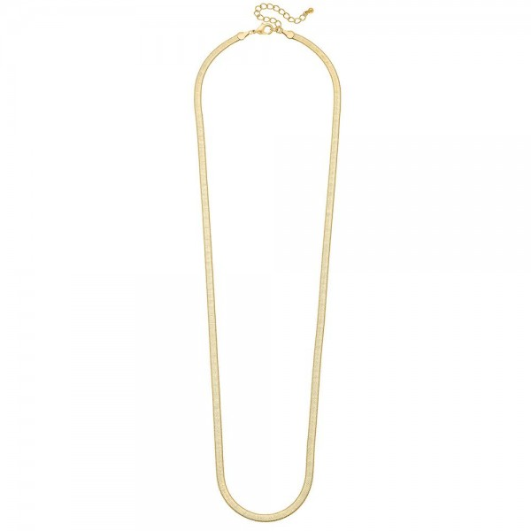 "5mm Herringbone Chain Necklace in Gold.  - Approximately 30"" L  - 3"" Adjustable Extender"