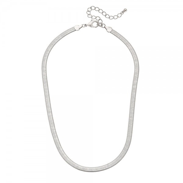 "5mm Herringbone Chain Necklace in Silver.  - Approximately 16"" L  - 3"" Adjustable Extender"