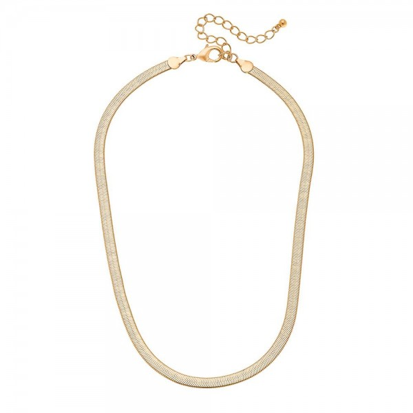 "5mm Herringbone Chain Necklace in a Matte Gold Finish.  - Approximately 16"" L  - 3"" Adjustable Extender"