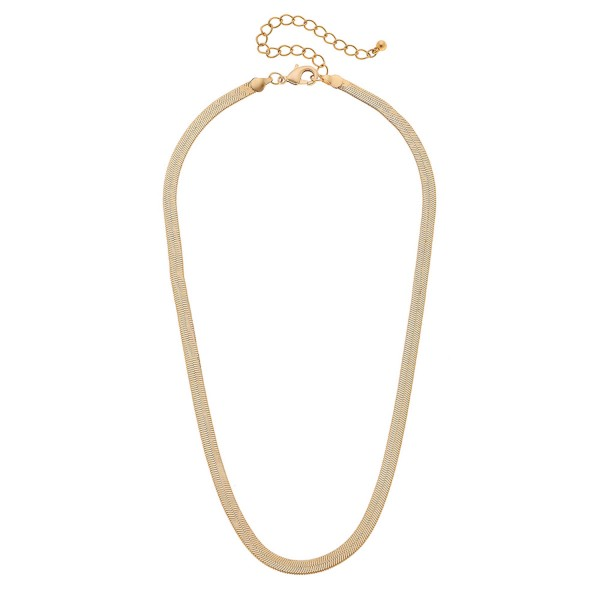"5mm Herringbone Chain Necklace in a Matte Gold Finish.  - Approximately 18"" L - 3"" Adjustable Extender"