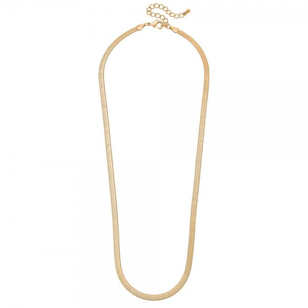 "5mm Herringbone Chain Necklace in a Matte Gold Finish.  - Approximately 24"" L - 3"" Adjustable Extender"