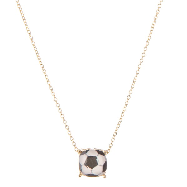 "Soccer Ball Glass Pendant Necklace.  - Pendant 11mm - Approximately 16"" L  - Adjustable 3"" Extender"