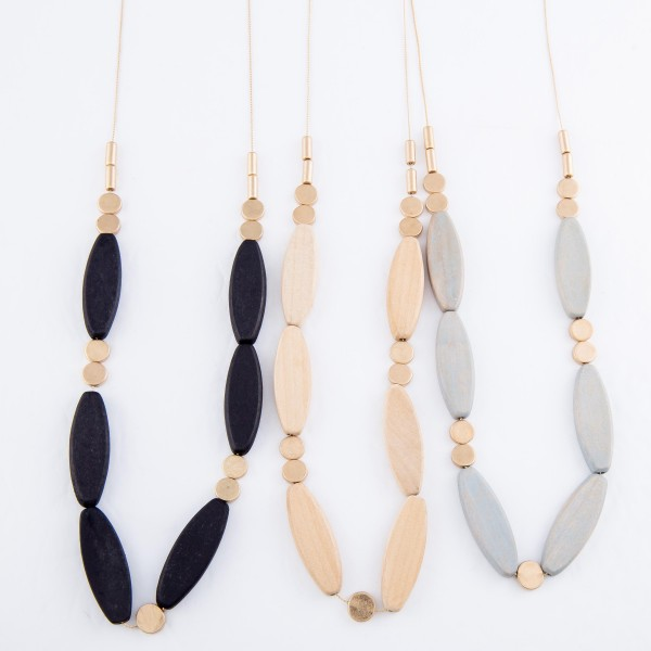 """Long Necklace Featuring Flat Oval Wood Beads with Gold Accents.  - Approximately 30"""" L  - 3"""" Adjustable Extender"""