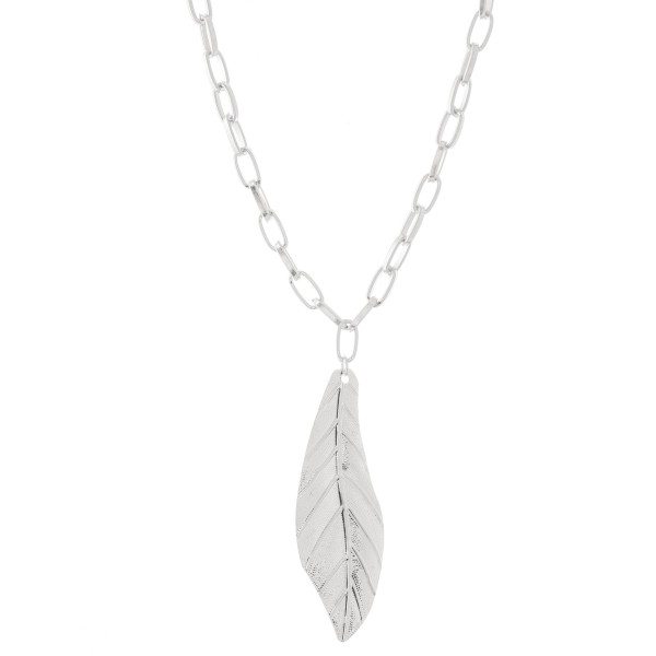 "Statement Chain Link Leaf Pendant Necklace.  - Pendant 4""  - Approximately 26"" L  - 3"" Adjustable Extender"