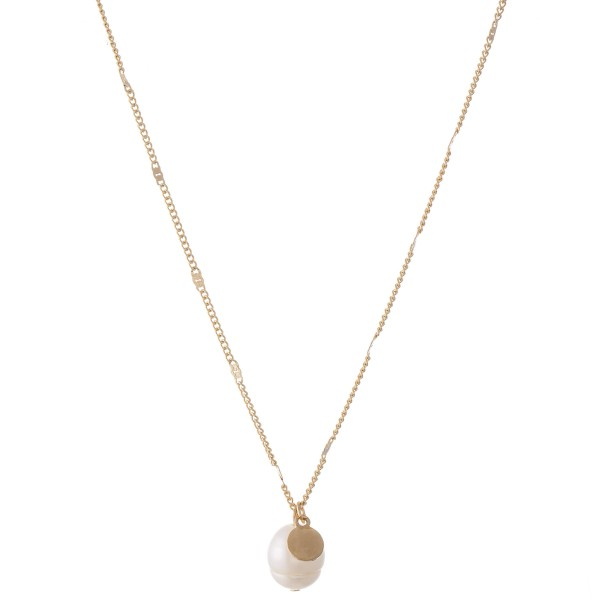 "Ringed Pearl Pendant Necklace.  - Pearl 10mm - Approximately 16"" L  - 3"" Adjustable Extender"
