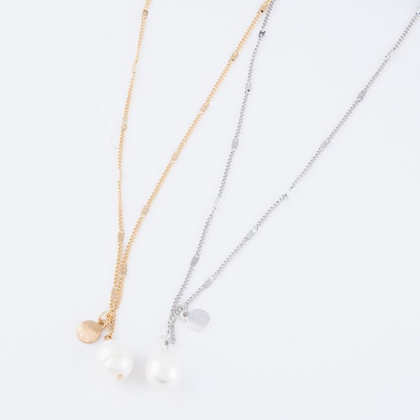 """Ringed Pearl Pendant Necklace.  - Pearl 10mm - Approximately 16"""" L  - 3"""" Adjustable Extender"""