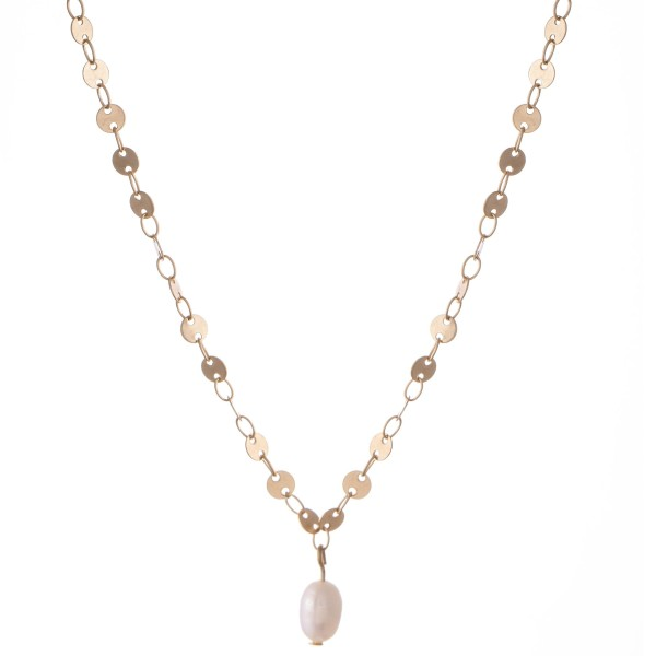 "Sequin Chain Pearl Necklace.  - Pearl 5mm in diameter - 1cm L - Approximately 14"" L  - 3"" Adjustable Extender"