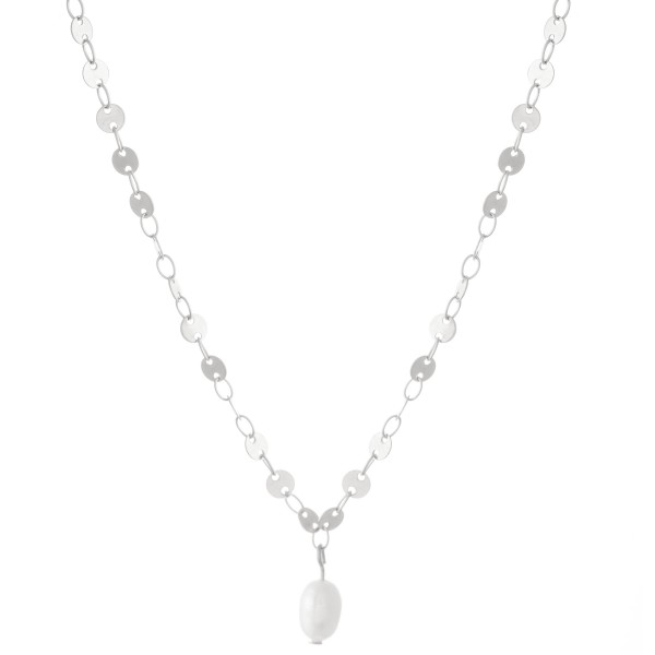 """Sequin Chain Pearl Necklace.  - Pearl 5mm in diameter - 1cm L - Approximately 14"""" L  - 3"""" Adjustable Extender"""