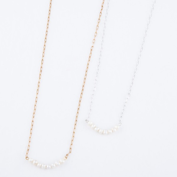 """Pearl Beaded Bar Necklace.  - Pearl Bar 1""""  - Approximately 14"""" L  - 3"""" Adjustable Extender"""